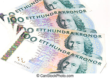 Swedish crones - Four 100 banknotes of swedish money