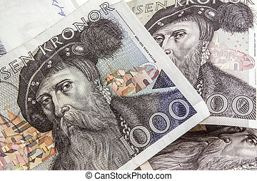Swedish currency -1000 Kronor closeup