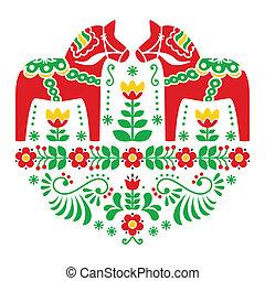 Swedish Dala horse pattern - Traditional Scandinavian...