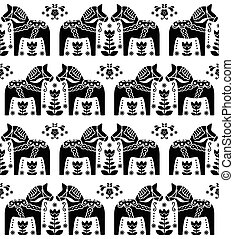 Swedish Dala or Daleclarian pattern - Scandinavian black and...