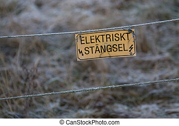 Swedish electric fence - A bleak Swedish electric fence in...