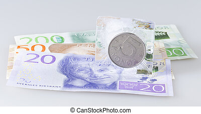 Swedish Five Krona Coin in Ice on top of notes.