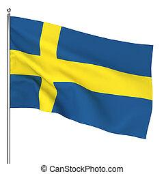 Swedish flag. 3d illustration on white background