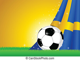 Swedish Flag and Soccer Ball - Vector illustration of a ...
