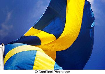 Swedish flag close-up