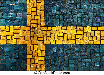 Swedish flag created as window pain