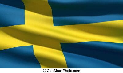 Swedish flag, 3d animation. perfect seamless loop