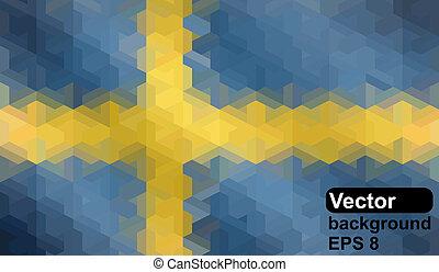 Swedish flag made of geometric shapes. Vector illustration.