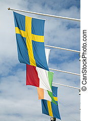 Swedish Flag on Blue Sky Background