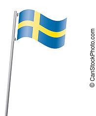 Swedish flag on flagpole vector illustration
