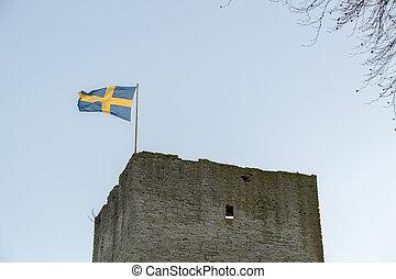 Swedish Flag on Visby Town Wall