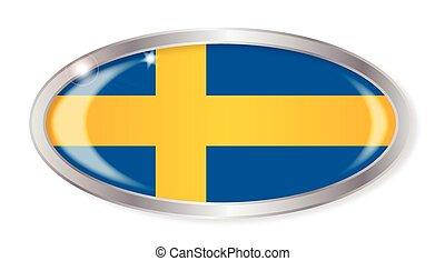 Swedish Flag Oval Button