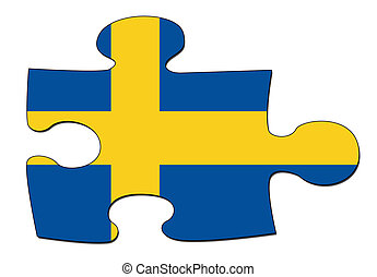 Swedish flag puzzle - A puzzle piece in the shape of the...
