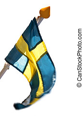 Swedish flag in strong wind