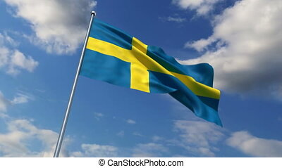 Swedish flag waving against time-lapse clouds background