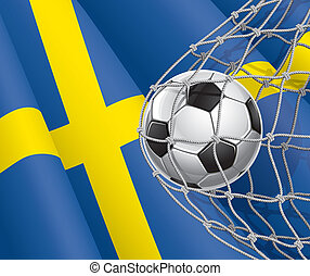 Swedish flag with a soccer ball