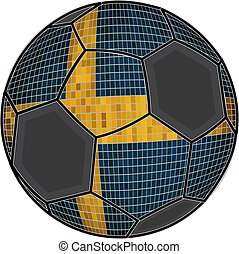 Swedish flag with soccer ball background