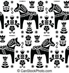 Swedish folk art Dala black pattern - Traditional...