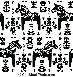 Swedish folk art Dala black pattern - Traditional...