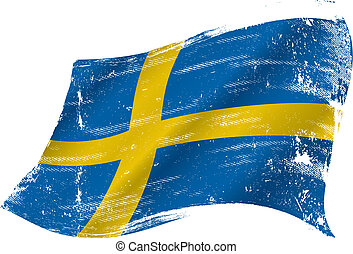 Swedish grunge flag - flag of Sweden in the wind with a...