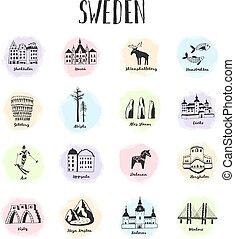 Swedish hand drawn landmarks