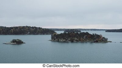 Swedish islands while the ferry is moving.