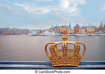 Swedish kingdom golden crown - Golden crown on Skeppsholmen...
