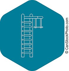 Swedish ladder icon, outline style - Swedish ladder icon. ...