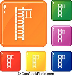 Swedish ladder icons set vector color - Swedish ladder icons...