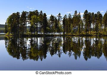 Swedish lake with reflection.
