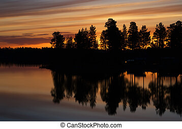 Late night early morning summer time in Swedish Lappland