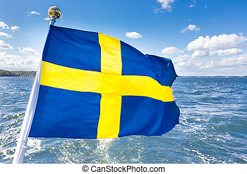 Swedish national flag. - Swedish national flag fluttering on...