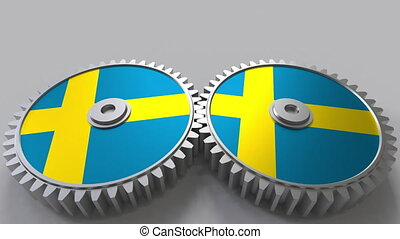 Swedish national project. Flags of Sweden on moving...