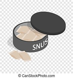 Swedish snus, chewing tobacco isometric icon