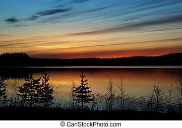 Beatiful sunset in northern Sweden