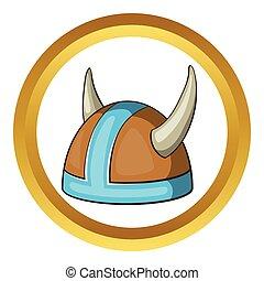 Swedish viking helmet vector icon