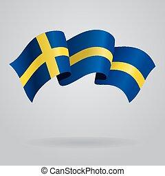 Swedish waving Flag. Vector illustration Eps 8.