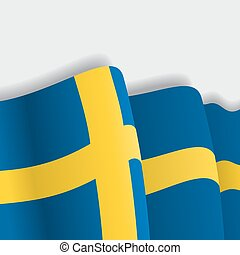 Swedish waving Flag. Vector illustration.