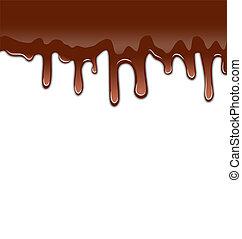 swee, isolé, gouttes, fond, fondu, sirupeux, chocolat blanc