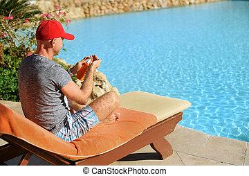 sweeming, sunblock, concepto, pool., verano, exitoso, sol,...