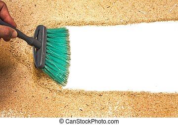 sweep, wood shaving on white background