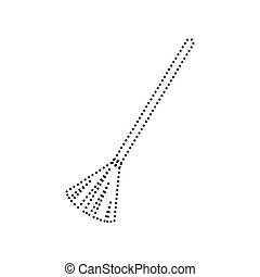 Sweeping broom sign. Vector. Black dotted icon on white background. Isolated.