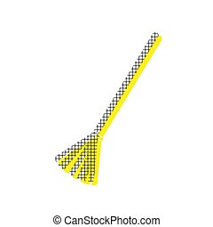 Sweeping broom sign. Vector. Yellow icon with square pattern dup