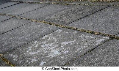 Sweeping footpath footage - Sweeping garden footpath tiles...