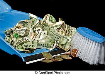Sweeping Money - Money being swept in dust pan.
