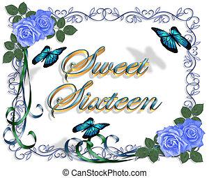 Sweet 16 Birthday Blue Roses Border - Image and illustration...