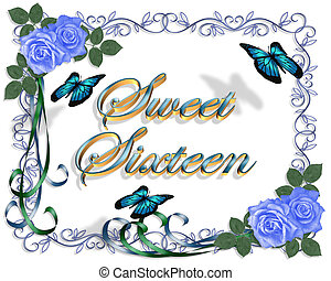Image and illustration composition for card, border, stationery, invitation or background for sweet sixteen birthday party with blue roses, butterflies, copy space.
