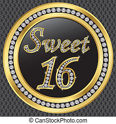 Sweet 16 years anniversary, happy birthday golden card with diamonds, vector