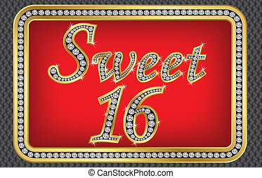 Sweet 16 years anniversary, happy birthday golden card with...