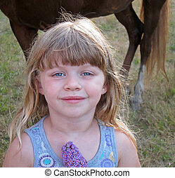 Sweet 4 Year Old Girl in Country Portrait